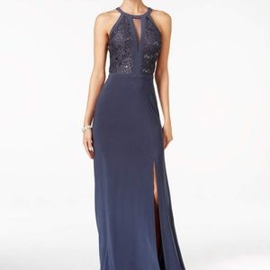 Night way Petite Lace-trim Halter Gown